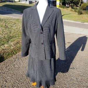 Vintage Pinstripe Power Skirt Suit